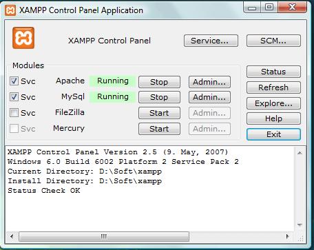 ניהול XAMPP